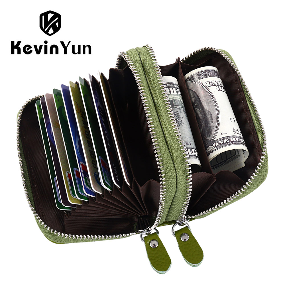 KEVIN YUN Designer Brand Women ID Card Holder Genuine Leather Double Zipper Ladies Credit Card Case Wallet Large Capacity