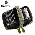 Mulheres marca designer de kevin yun id titular do cartão de couro genuíno caso do cartão de crédito carteira de grande capacidade duplo zíper senhoras