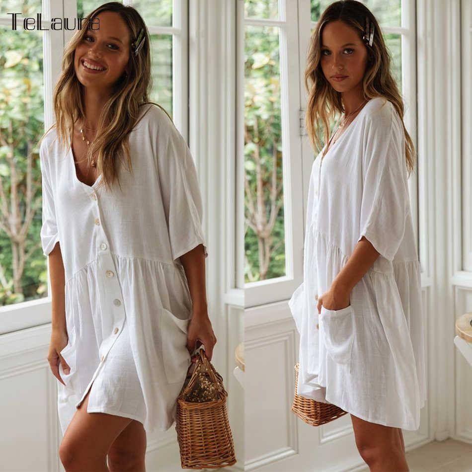 2019 Baru Pantai Seksi Menutupi Baju Renang Putih Gaun Pantai Wanita Bikini Pakaian Renang Baju Renang Musim Panas Pantai Tunik
