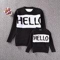2016 Дети свитер пуловеры HELLO baby мальчиков и девочек свитер хеджирования письмо свитер Семья установлены