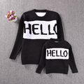 2016Kids sweater pullover HELLO baby boys and girls sweater hedging letter sweater Family fitted