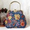 Female Handmade Retro Flower Printing Handbag Summer Hippie Boho Bohemian Chic Tribal Ethnic Folk Blue Shoulder Bag