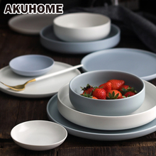 Matte Blue&White Style China Bone Plate 6 8 10 Inch Soup Plate Flat Plate Dishwasher Available