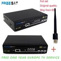 1 Năm Clines Tây Ban Nha Freesat V8 siêu DVB-S2 Satellite Receiver Hỗ Trợ bộ giải mã 1080 P Full HD powervu clines bisskey + USB WIFI