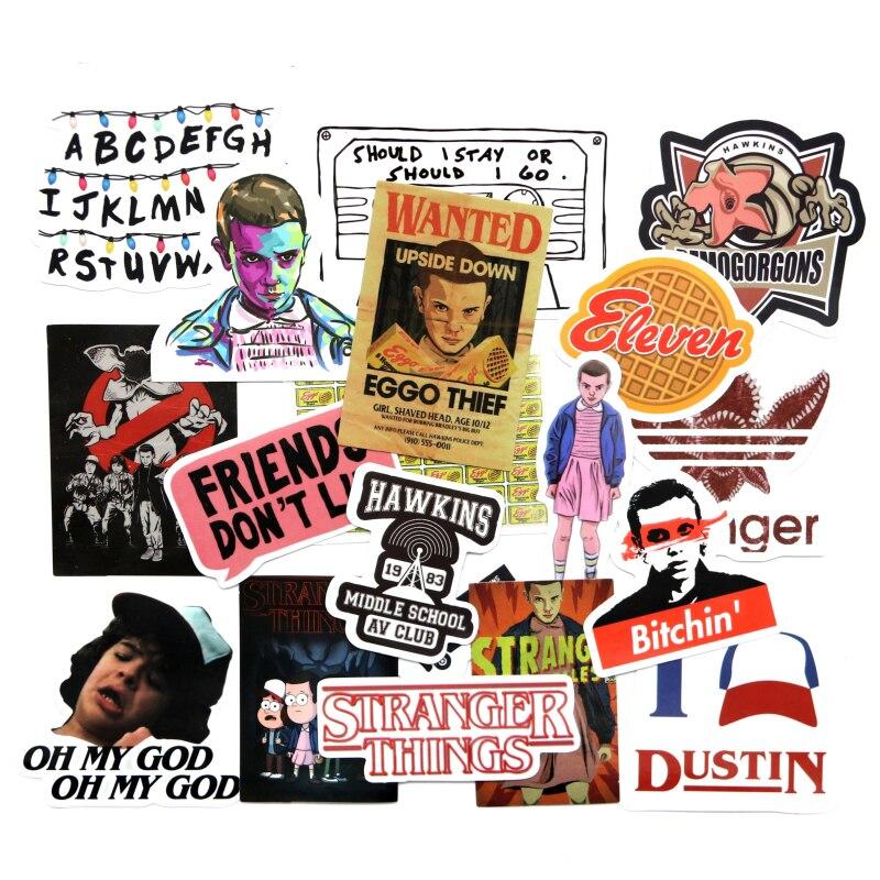 19 Pcs/Set Stranger Things Sticker American Montauk For Laptop Luggage Car Notebook PVC Waterproof Graffiti Stickers Car Styling