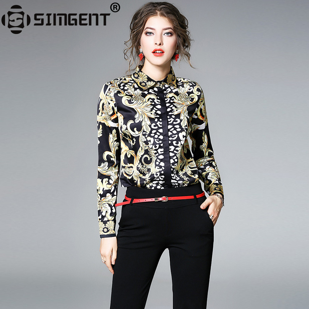 Simgent Blouses Shirts 2018 New Spring Long Sleeve Turn Down Collar Print Women Blouse Tops Chemisier Femme Blusa Mujer SG712063