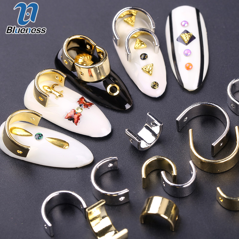 6Pcs Gold Silver Curved Gold Bars Moon Metal Design Nail