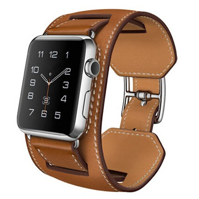 1:1 Original Design Cuff Bracelet Leather Band For Apple Watch Band Wide Wrist Strap For iWatch With Adapters 38MM 42MM new