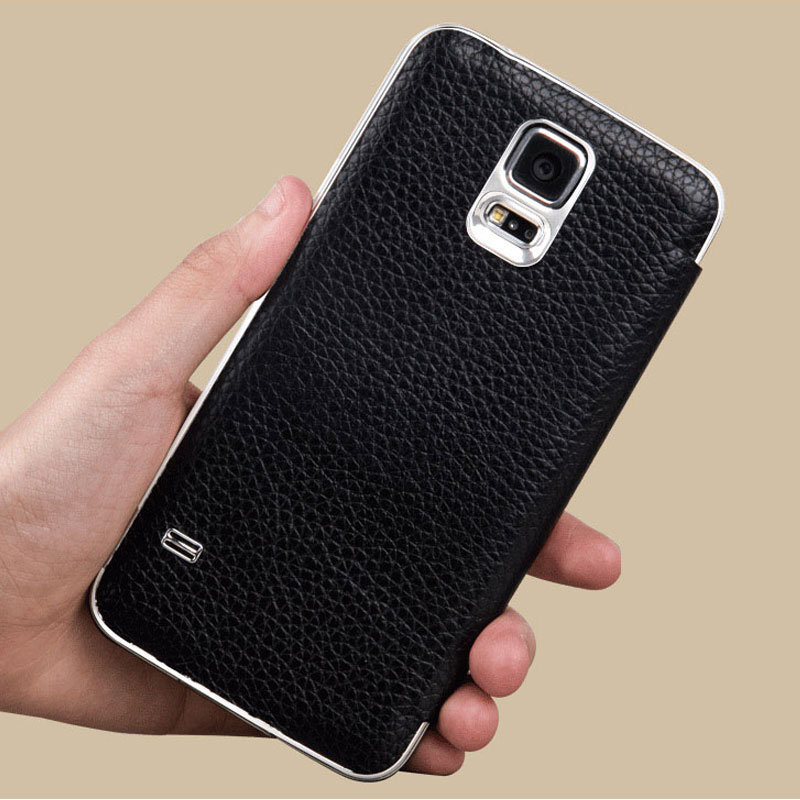 buy online 4b322 e1a44 US $18.99 |For S5 case Original genuine Leather flip Ultra thin Metal  Aluminum Battery back Cover For Samsung Galaxy S5 case 9600 SIV black on ...