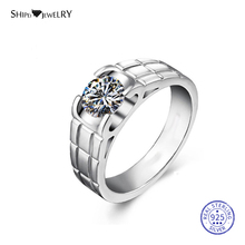 цена на ShiPei 100% 925 Sterling Silver 2ct White Sapphire Round Engagement Wedding Ring for Men Anniversary Gift Fine Jewelry Wholesale