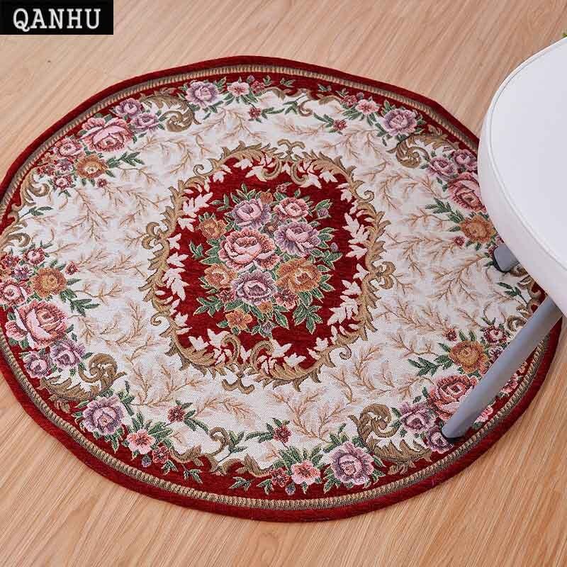 QANHU tapis rond pour enfants Chenille tissu Jacquard fini tapis pour salon Table canapé tapis 4 couleurs 4 tailles # Y-02