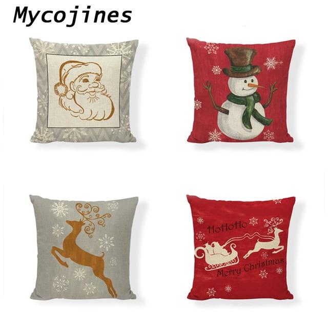 Christmas Tree Decoration Pillow Cover Linen Santa Claus Elk Printing Pillowcase Farmhouse Home Sofa Chair Decorate Accessories
