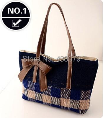 ФОТО 2014 New fashion  bowknot linen Women's One Shoulder Handbag  free shipping