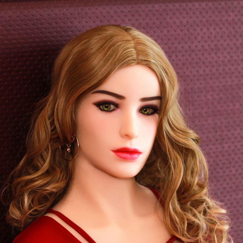 Pinklover blue eyes white skin color sex doll head for 155 cm to 165cm doll 11cm deepth oral sex real lifelike head with wig golden hair green eyes tpe sex doll head oral sex can use on 152cm 155cm 165cm doll for men oral sex