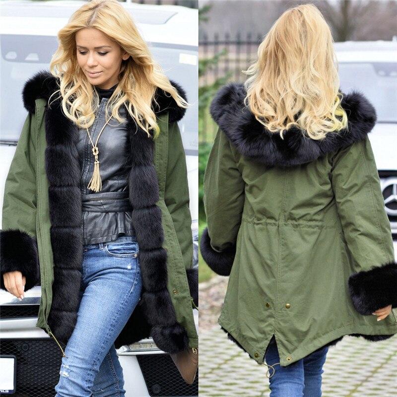 ФОТО Warm Thick Parka Coat Winter Jacket Women 2016 New Aarrivals Fashional Hoody Long Style Female Coat Removable Fur Collar