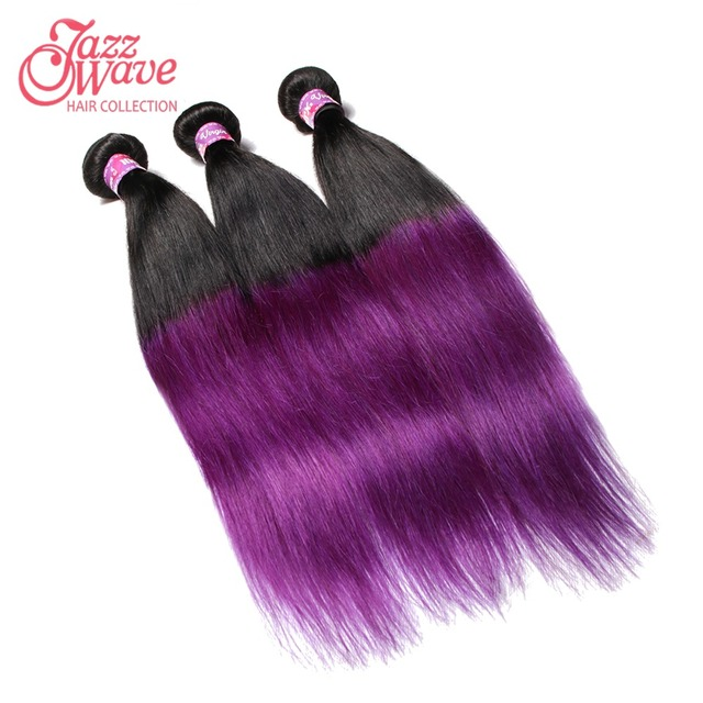 7a Brazilian Ombre Straight Purple Black Hair Extensions 1bpurple