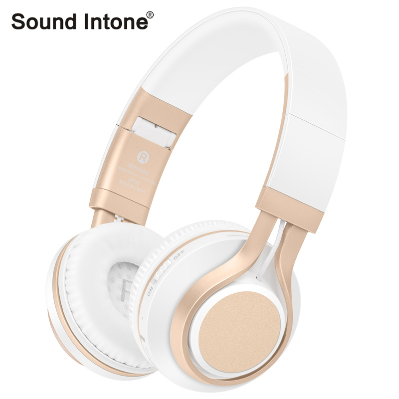 Sound Intone BT-08 Stereo Wireless Bluetooth 4.0 Headsets with Mic Micro SD/TF FM Radio Bass earphone For iOS Android 100% brand bluedio h bluetooth headsets stereo wireless headphones mic micro sd port fm radio bt 4 1 over ear headphones