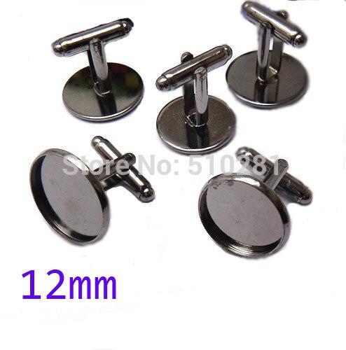Gunmetal Black Tone French Cuff Links, 12mm Round Pad Blank LK-3014