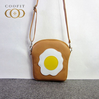 Coofit Girl S Shoulder Cute Cartoon Expressions PU Leather Lady Crossbody Bag Poached Egg Smile Face