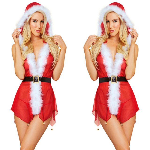 FLYMALL Sexy Christmas Costume Lingerie Suit Transparent