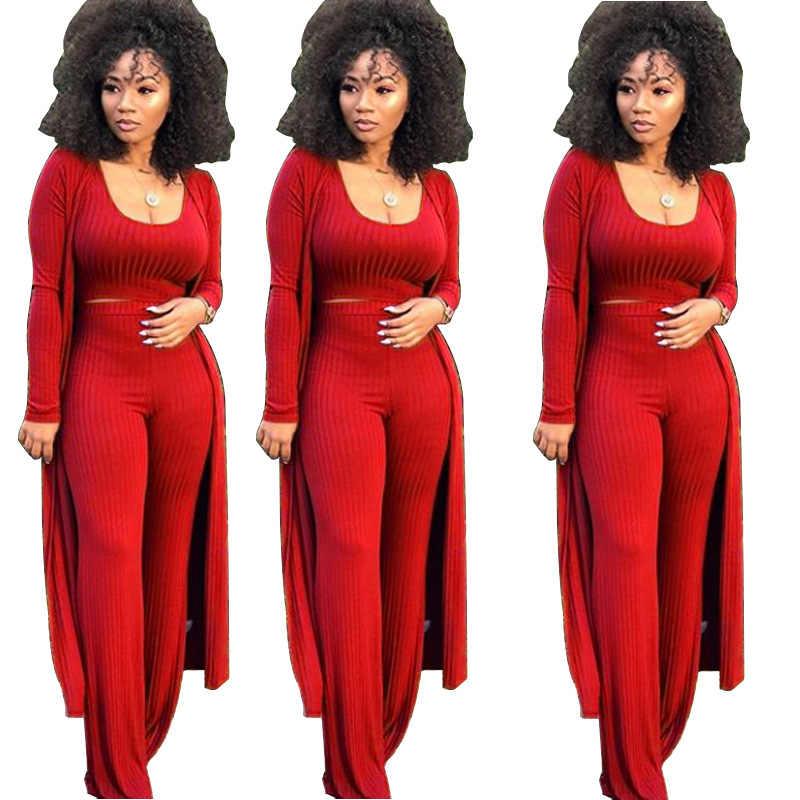 2c6bfa5f498 Women knitted long sleeve cardigan coat loose wide leg pants crop top 3  piece set for