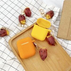 Image 5 - Yeni sevimli tatlı patates dekoratif silikon kılıf Apple Airpods için kılıf aksesuarları koruyucu kapak Bluetooth kulaklık anahtarlık