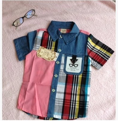 cdd5b3d656957 Children s Clothing 2014 Summer Baby Boys Patchwork Short Sleeve Designer  Brand Shirts Kids Fashion Blouse Shirts Free Shipping