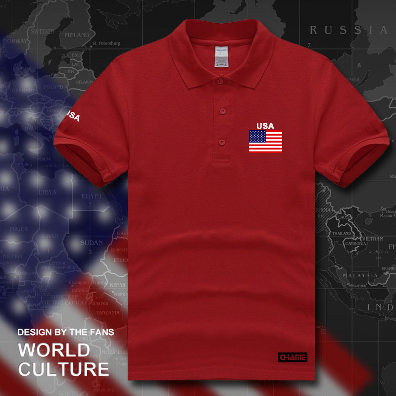 United States of America USA US   polo   shirts men short sleeve white brands printed for country 2017 cotton nation team flag new