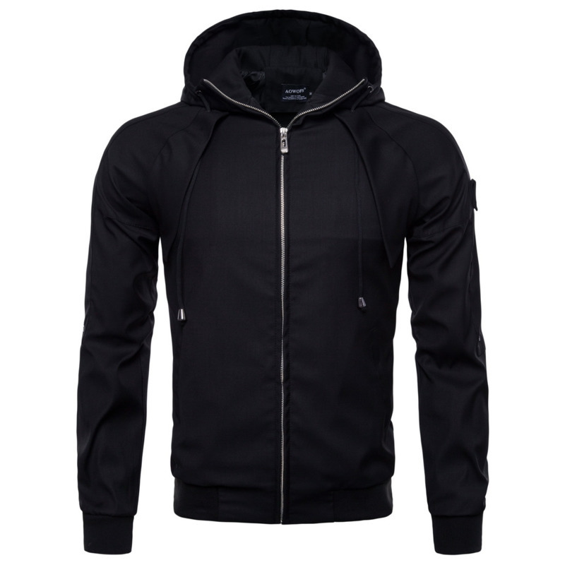 Autumn Winter Mens Outerwear Jackets Casual Coat Fashion Man Hooded Cotton Solid Color Jacket Clothes Male Tops
