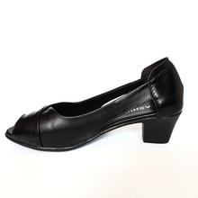 OUKAHUI Summer Genuine Leather Comfortable Ladies Mid Heel Sandals Women Shoes Hollow Peep Toe Square Heel Sandals Woman Black