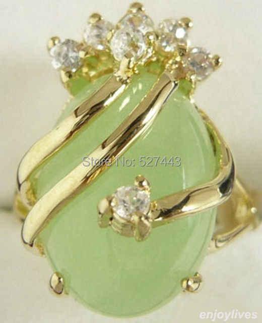 ขายส่งฟรีSHIPP>แสงธรรมชาติสีเขียวหินหินสีเหลืองขนาดแหวนคริสตัล: 6.7.8.9