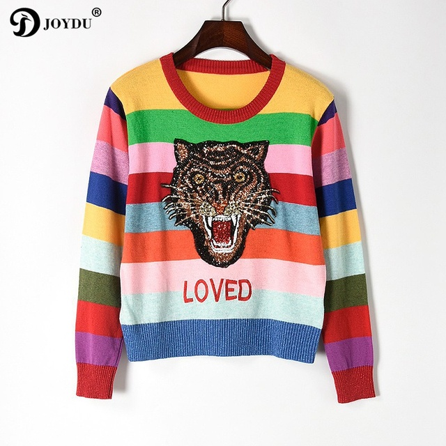 JOYDU Wool Pullover 2018 Designer Winter Sweater Women Tiger Head  Embroidery Sequins Rainbow Stripe Knit Tops Color Block Jumper 0a085d10e943