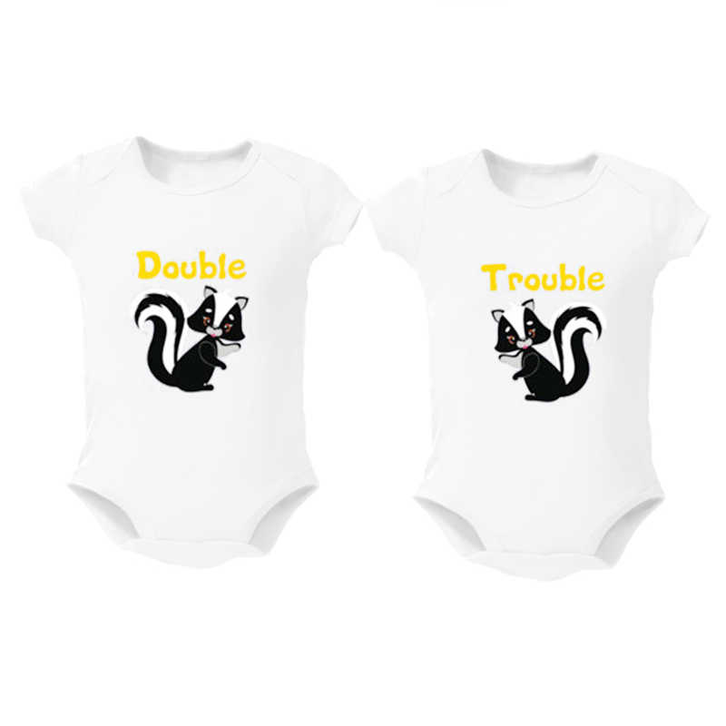 45facf110 Culbutomind Double Trouble Twins Baby Clothes Set of 2 Baby Boy Girl Clothes  Baby Bodysuits Jumpsuit