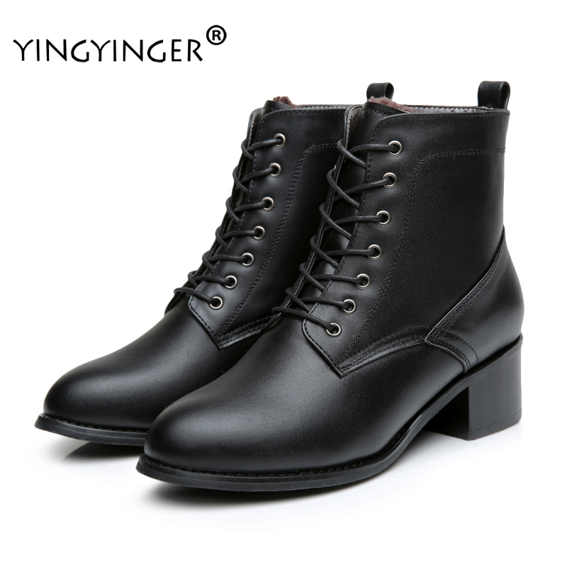 YINGYINGER Women Genuine Leather Boots Fur Winter Warm Ankle Boots Rome Style Genuine Female Shoes Retro Motorcycle Martin Boots women martin boots 2017 autumn winter punk style shoes female genuine leather rivet retro black buckle motorcycle ankle booties