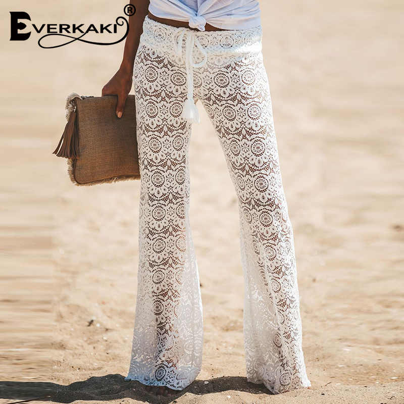 Everkaki Lace Hollow Out Long Pants Women Transparent Elastic Waist Tassel Sashes Tied Beach Bohemian Pants Female 2019 Autumn