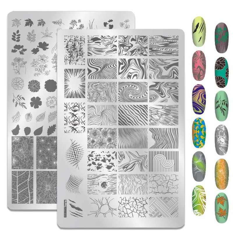 1PCS Big Size Geometry Waves Nail Art Stamping Plates Fowers Image Gel Nail Template Stencils Manicure Stamp Tool