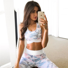 ZOGAA 2019 cross-border New European And American women Light Pink Printing Hip High Waist Sports Leggings Suit Women