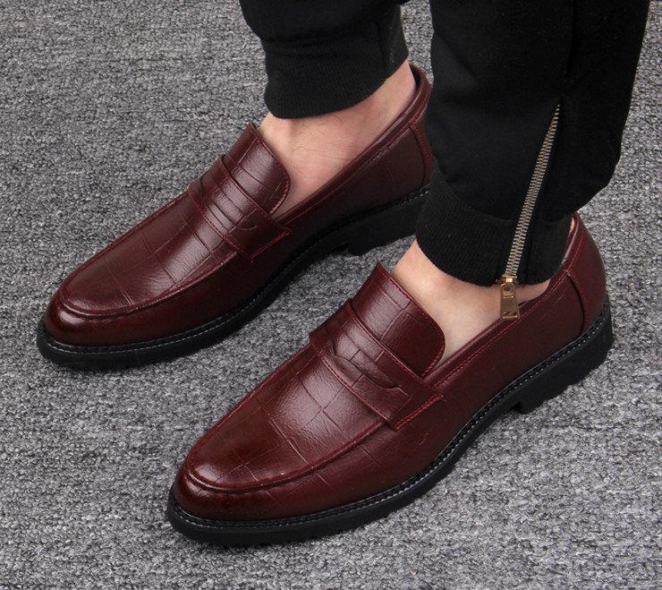 D'affaires Hommes De En Chaussures Pointu Mode Décontracté Mâle Automne Orteils Shown as Printemps Shown Cuir Sur Noir As Slip Habillées WEYH9DI2