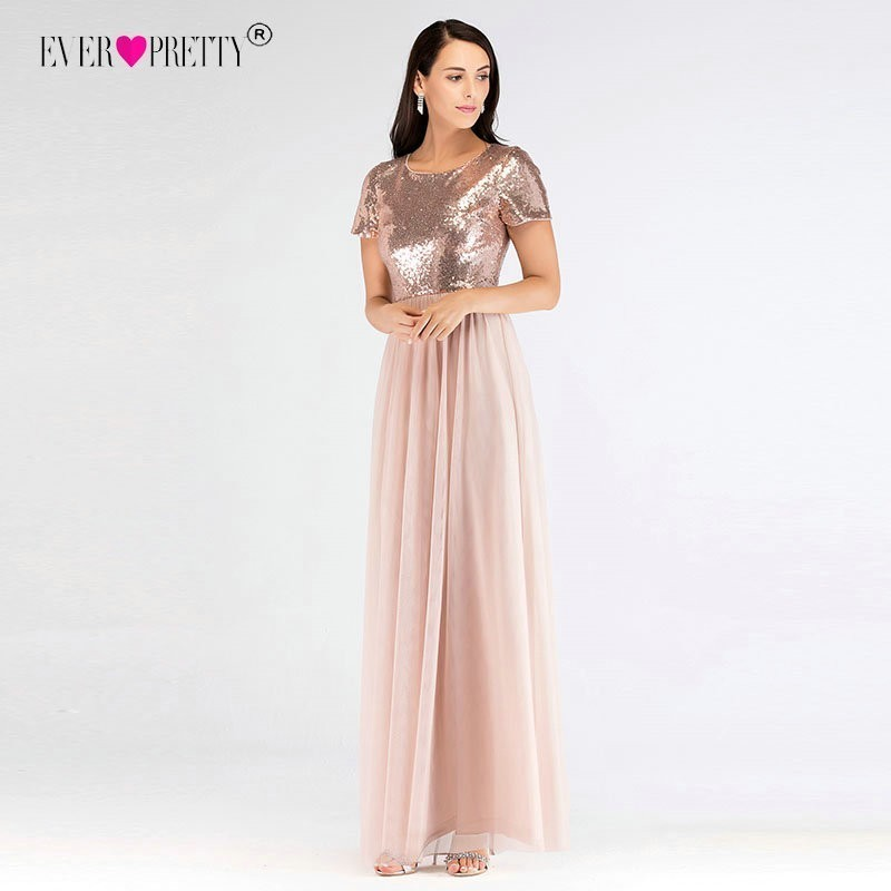 Elegant Short Sleeves Long   Prom     Dresses   Ever Pretty Women`s A-Line Rose Gold Sequined Party Gowns Affordable O-Neck Gala Jurken