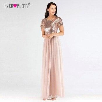 bf83f9b2660 Vestidos de Fiesta largos elegantes de manga corta para mujeres siempre  bonitos línea a Rosa oro lentejuelas vestidos de fiesta económicos cuello  redondo ...