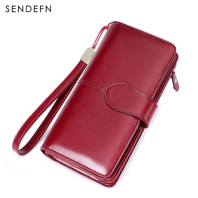 Rfid Retro Clutch Wallets Women Wallet Multifunction Purse Female Split Leather Phone Wallet With Zipper Portefeuille Femme