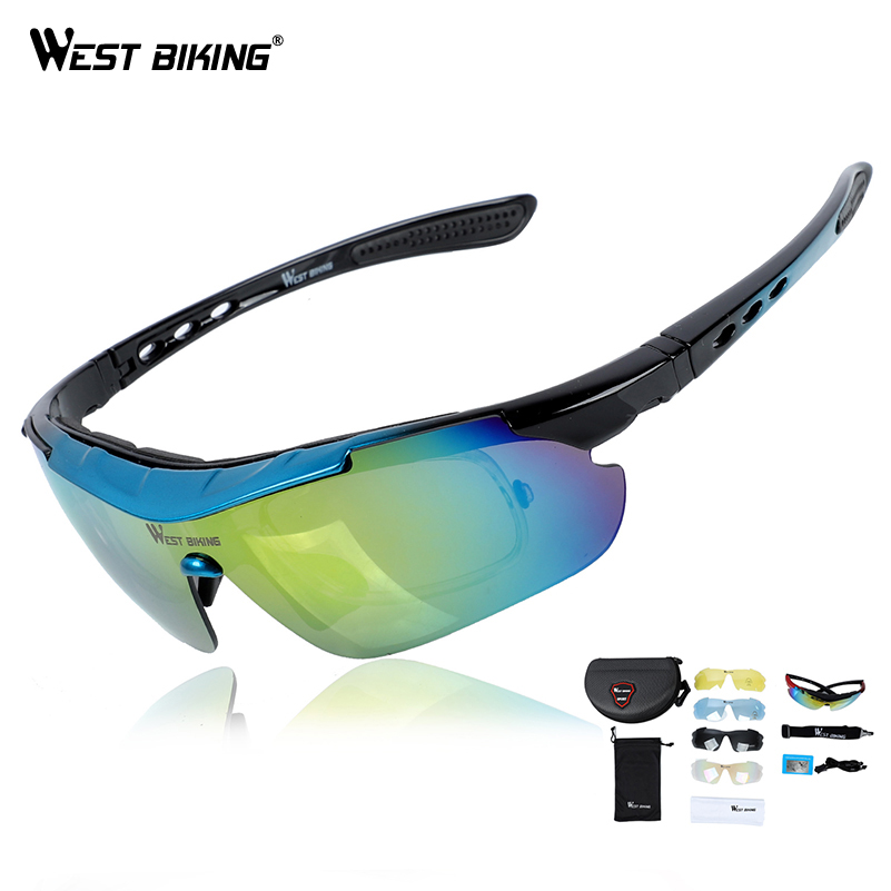 WEST BIKING Road Mountain Cycling Eyewear Racing Men Women Goggle Polarized oculosBicycle <font><b>Bike</b></font> <font><b>Glasses</b></font> Cycling <font><b>glasses</b></font> <font><b>5</b></font> <font><b>Lens</b></font> image