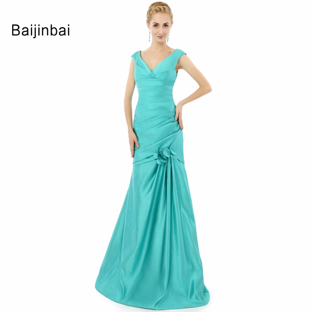 Baijinbai Real Photo Deep V Neck Noble Pleated Formal Evening Dress Long Mermaid Women Party Dress