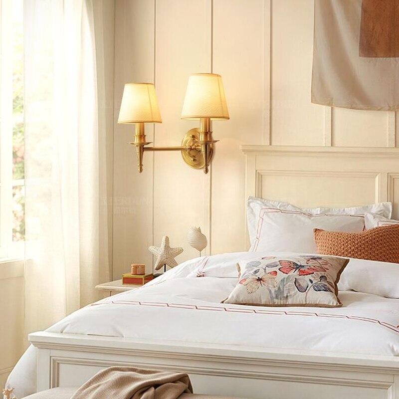 2 Heads American Village Copper E14 LED Wall Lamp Minimalism Fabric Art Bedroom Bedside Living Room Wall Light Fixture