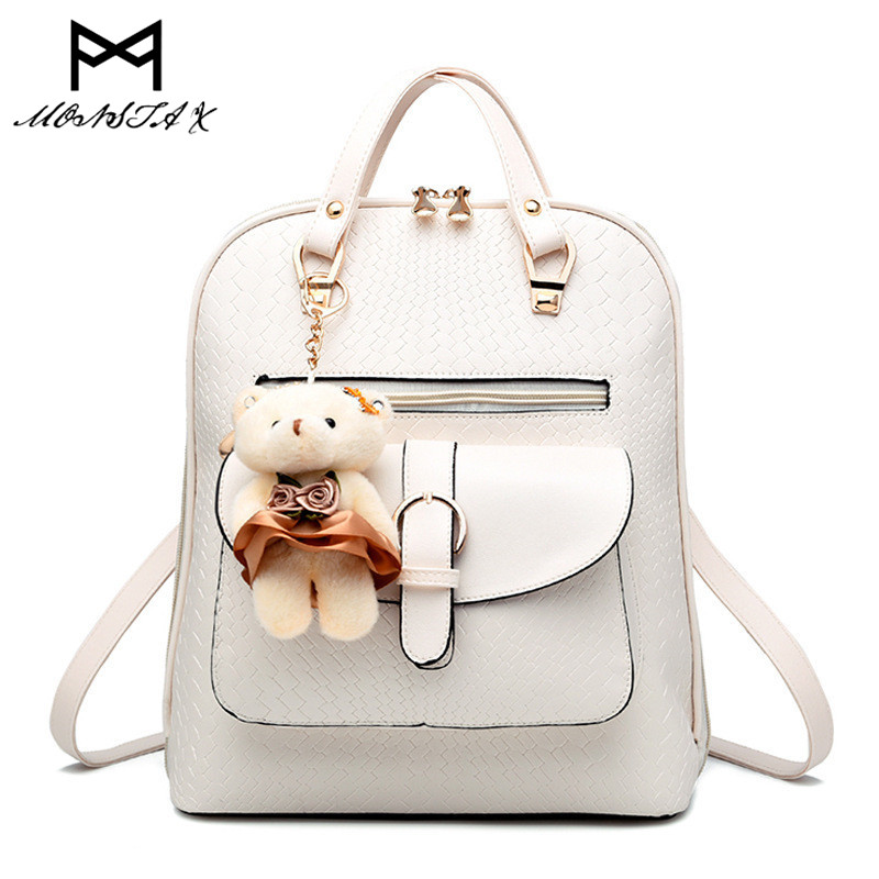 MONSTA X Women Backpack PU Leather Mochila Escolar School Bags For Lady Teenagers Girls Top-handle Backpacks with Plush Bear