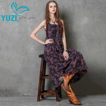 2017ฤดูร้อนdress yuzi.อาจผ้าฝ้ายผ้าลินินvestidos a-lineเอวสูงปาเก็ตตี้สายคล้องดอกไม้พิมพ์ผู้หญิงชุดa8151 vestido - DISCOUNT ITEM  28% OFF เสื้อผ้าสตรี