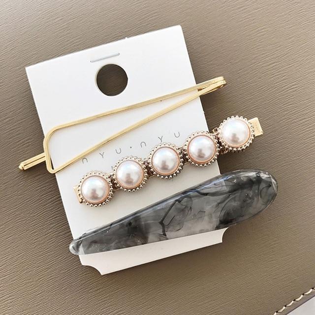 RE 3pcs/set Korean Women Girls Metal Pearl Marble Hair Clip Combination Barrette Pearls Hairpin Hair Styling Accessories D2735 4