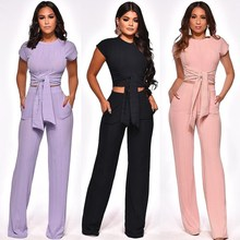 купить Women Knit 2 Piece Set Solid Sexy Club Crop Top And Pants Sweat Two Piece Sets Summer Outfits Matching Sets по цене 1251.82 рублей