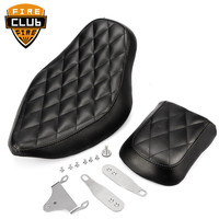 Motorcycle Black Artificial Leather Diamond Stitched Driver&Rear Passenger Seat For Harley Sportster XL 2010 2016