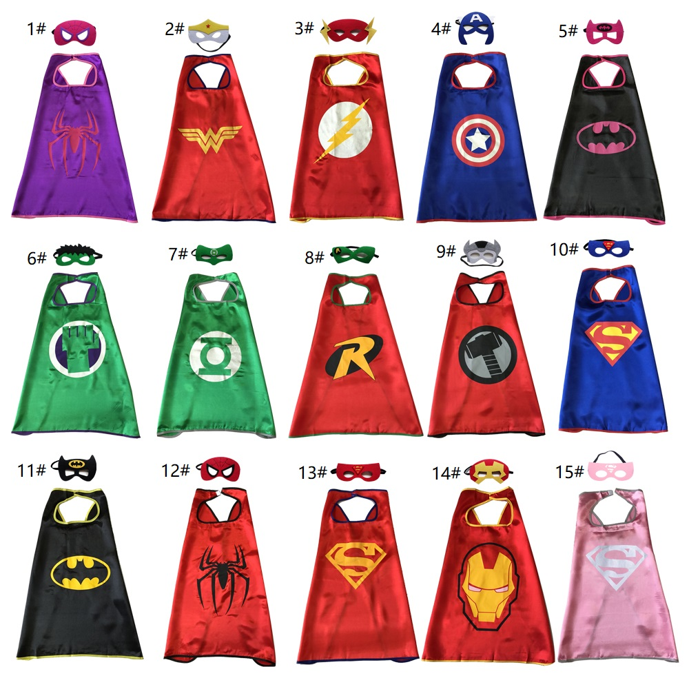 Top Quality one-layer Superhero Cape with Mask for kids 15 styles cartoon costumes movie cosplay cape child party favors